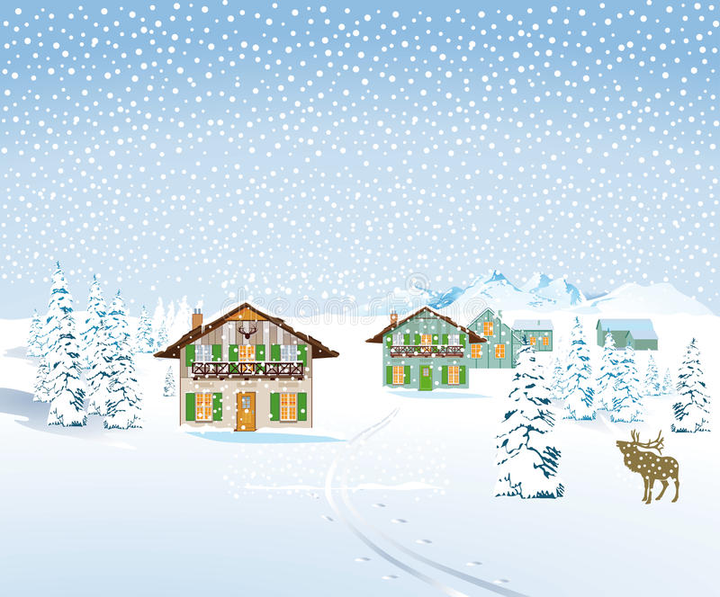 Diseño del landcape de la tormenta de la nieve del invierno stock de ilustración