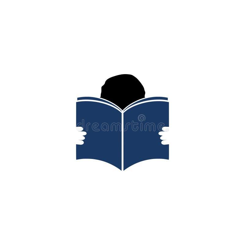 Diseño del libro de lectura del muchacho, icono del editor y de la publicación stock de ilustración
