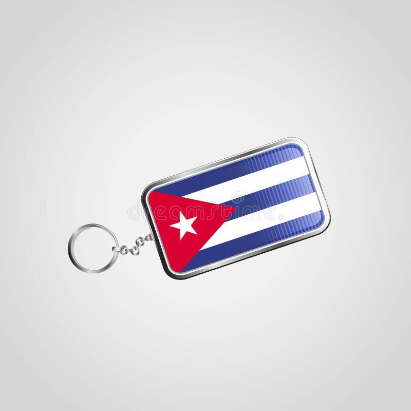 Diseño del llavero del vector de Cuba stock de ilustración