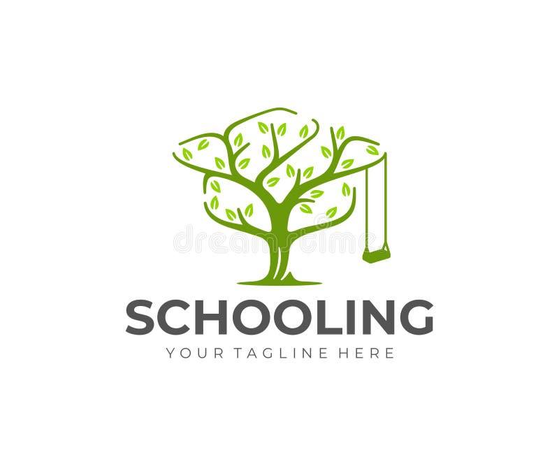 Diseño del logotipo del árbol del conocimiento Diseño del vector del sombrero y del árbol del soltero ilustración del vector