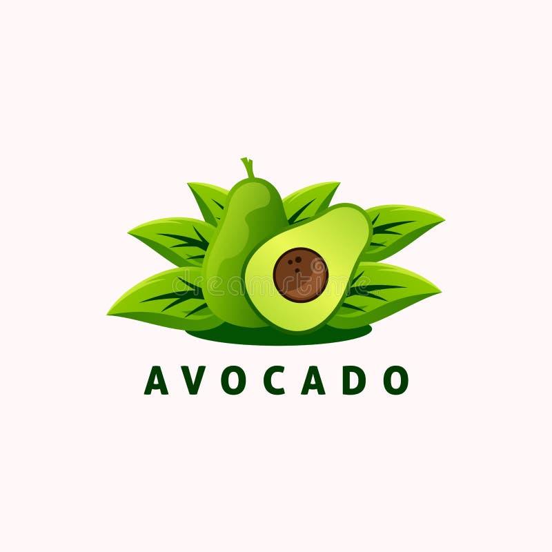 Diseño del logotipo del aguacate, vector, ejemplo stock de ilustración