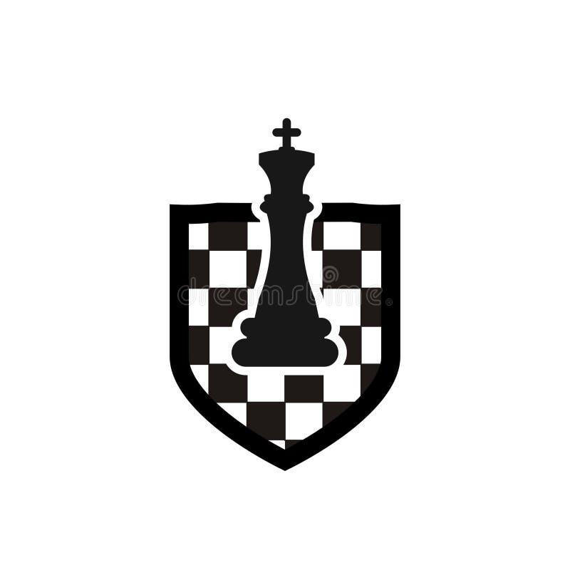 Diseño del logotipo del ajedrez ilustración del vector