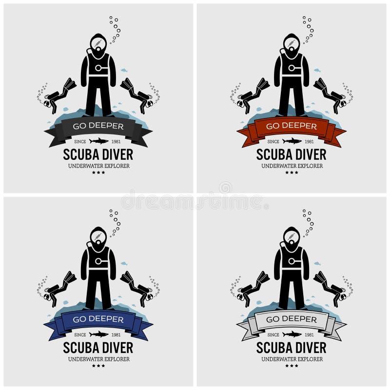 Diseño del logotipo del buceo con escafandra libre illustration