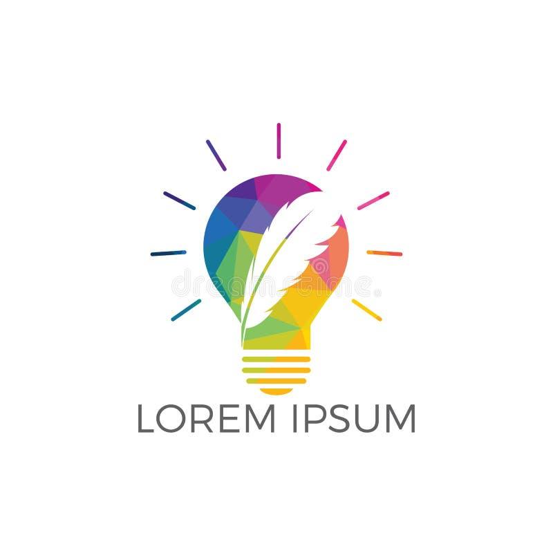Diseño del logotipo del bulbo de la pluma stock de ilustración