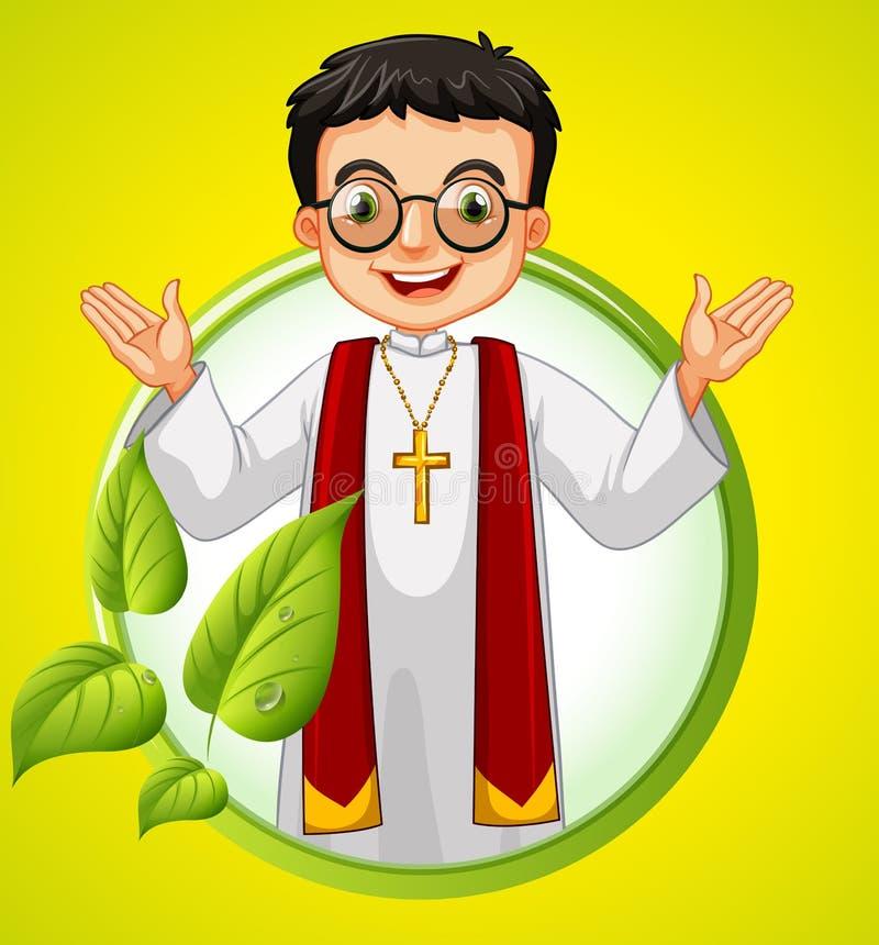 Diseño del logotipo con el sacerdote y las hojas libre illustration