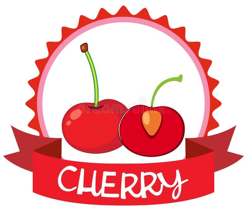 Diseño del logotipo con las cerezas rojas stock de ilustración