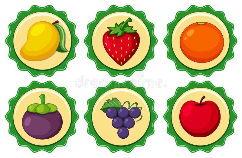Diseño del logotipo con las frutas frescas stock de ilustración