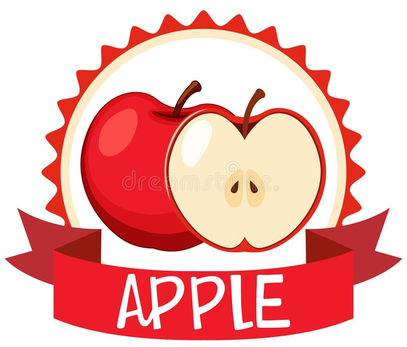 Diseño del logotipo con las manzanas rojas ilustración del vector