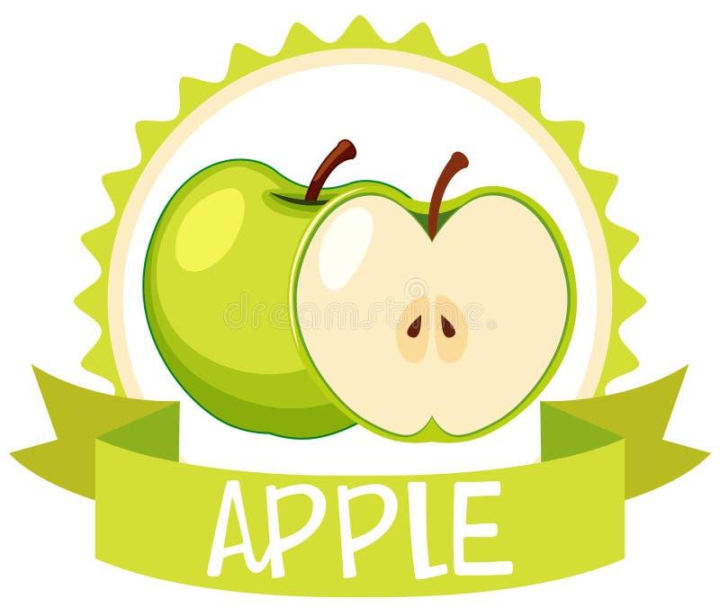 Diseño del logotipo con las manzanas verdes ilustración del vector