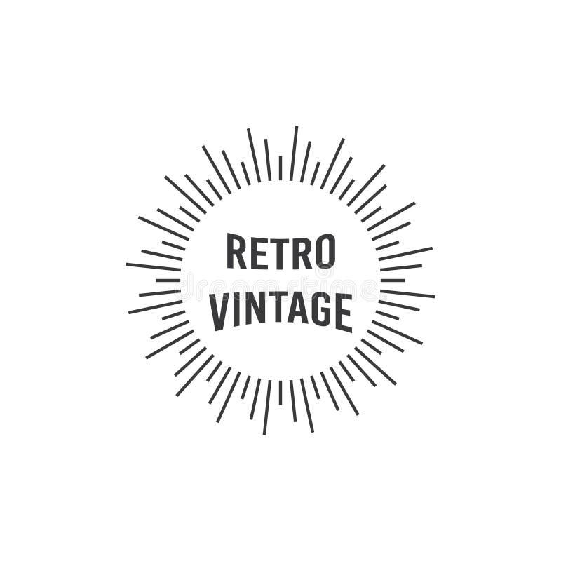 Diseño del logotipo con los ejemplos ligeros y el texto retro del vintage ilustración del vector