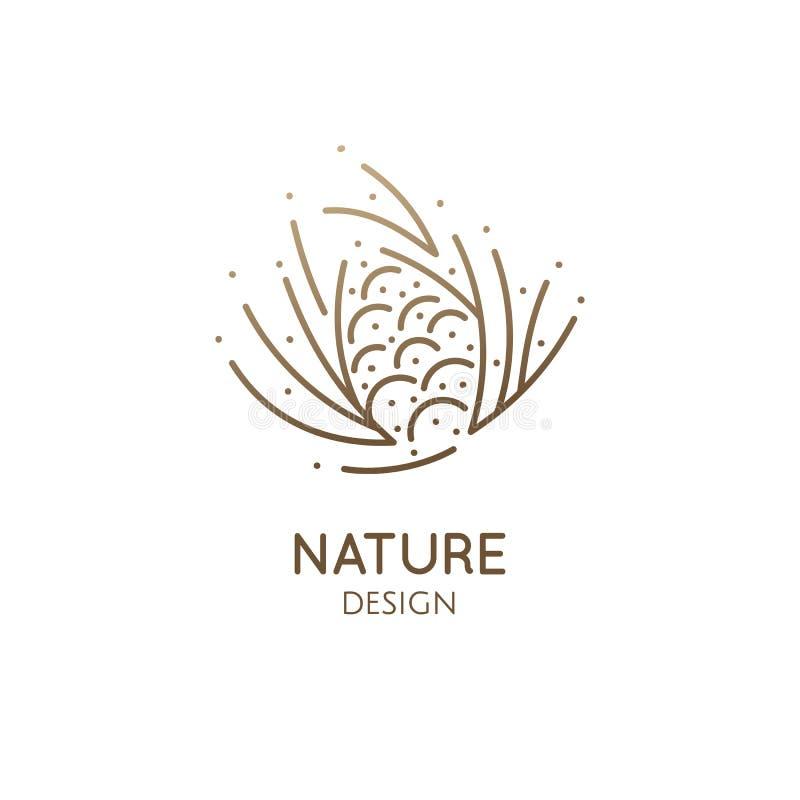 Diseño del logotipo del cono del pino stock de ilustración
