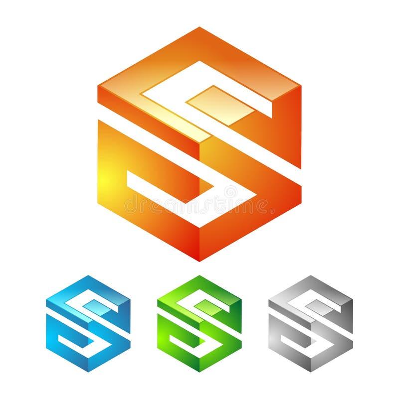 Diseño del logotipo del cubo de la letra S stock de ilustración