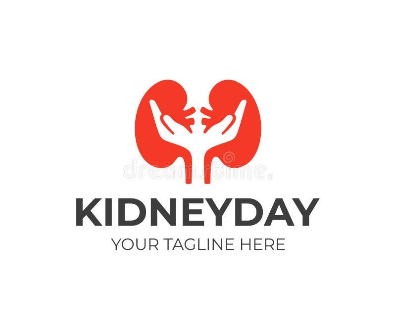 Diseño del logotipo del cuidado del riñón Diseño del vector de la urología ilustración del vector