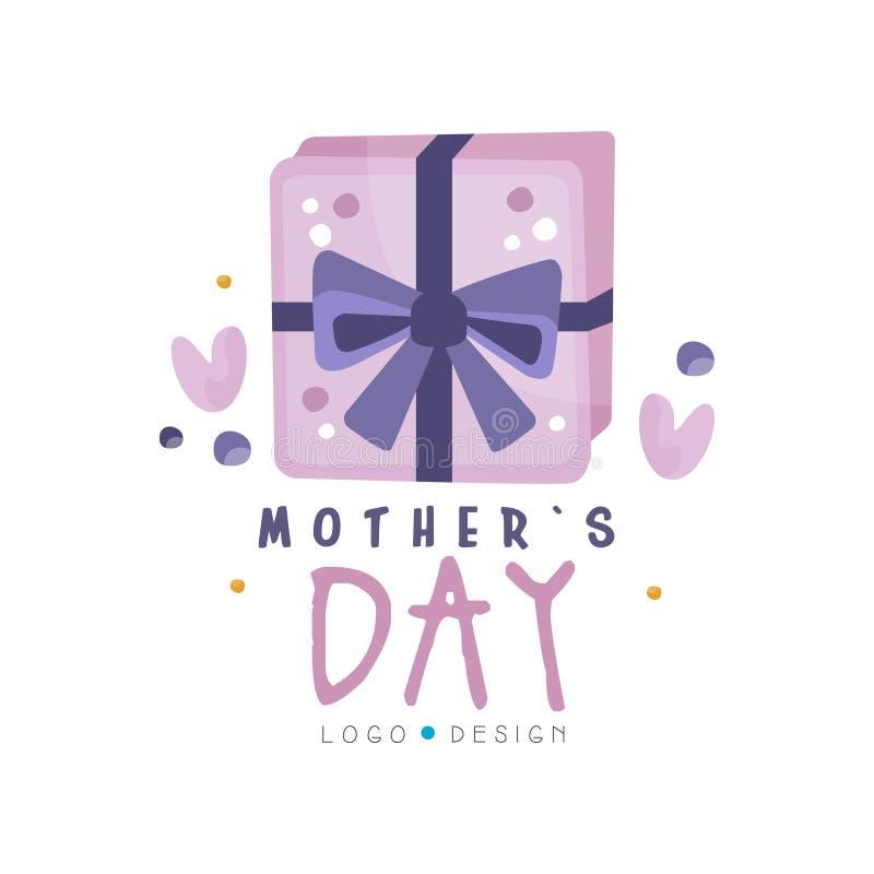 Diseño del logotipo del día de madres, etiqueta creativa con la caja de regalo para la bandera, cartel, tarjeta de felicitación,  stock de ilustración