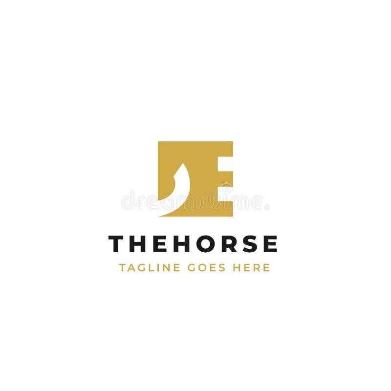 Diseño del logotipo de la cabeza de caballo en forma cuadrada diseño del icono del símbolo de la letra E stock de ilustración