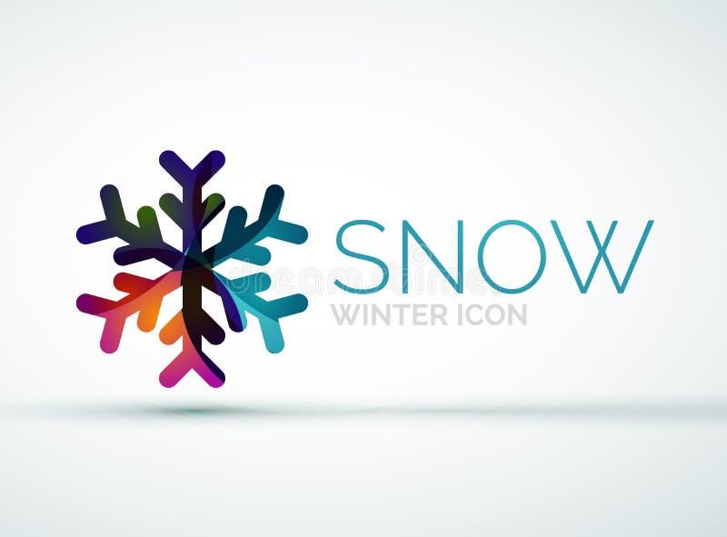 Diseño del logotipo de la compañía del copo de nieve de la Navidad stock de ilustración