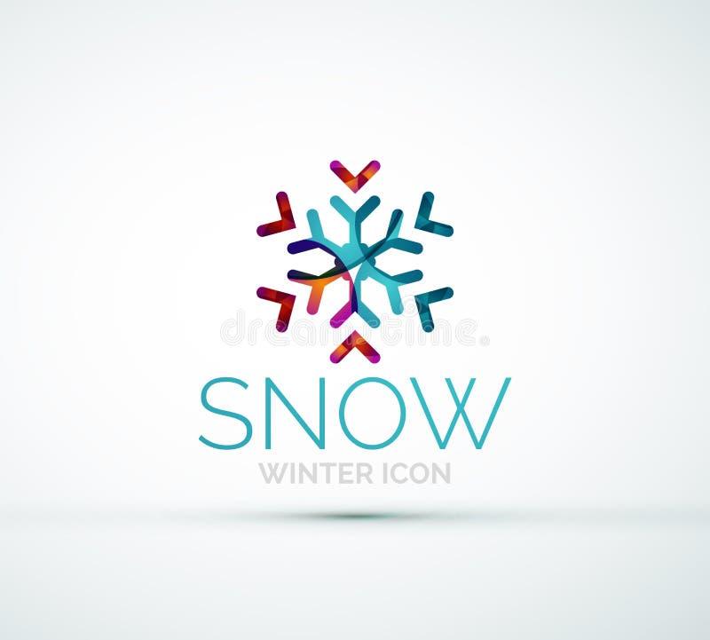 Diseño del logotipo de la compañía del copo de nieve de la Navidad ilustración del vector