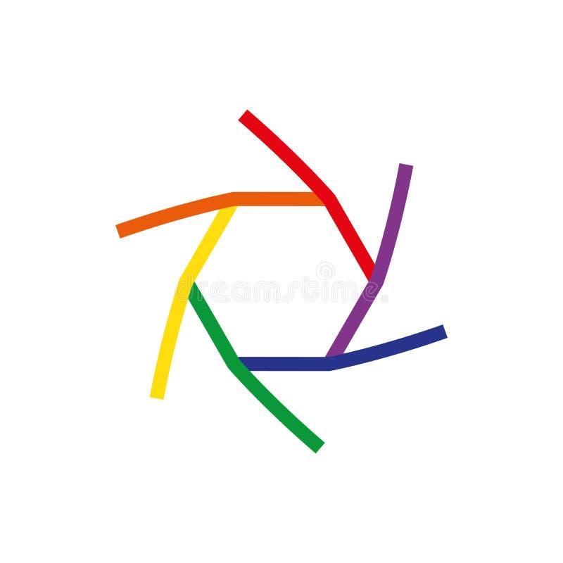 Diseño del logotipo de la compañía del icono del obturador del vector aislado encendido con el fondo, concepto del símbolo del ne stock de ilustración
