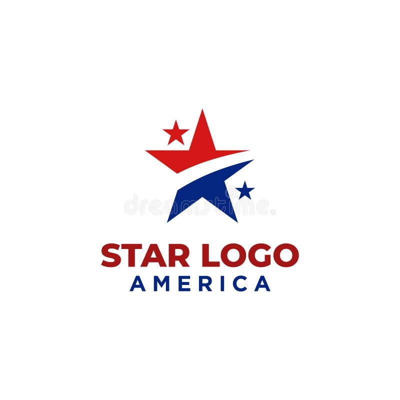 Diseño del logotipo de la estrella con color rojo y azul ilustración del vector