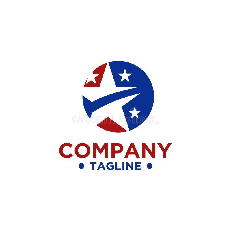 Diseño del logotipo de la estrella con color rojo y azul libre illustration