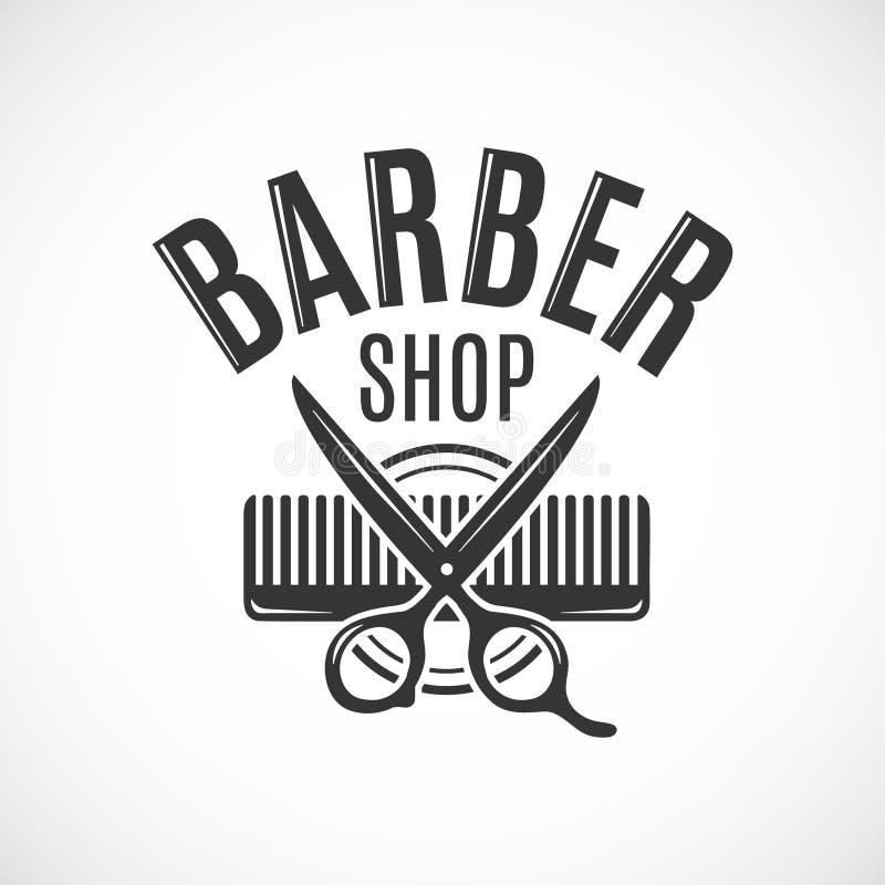 Diseño del logotipo, de la etiqueta, de la insignia o del emblema del vintage del vector de la peluquería de caballeros En blanco libre illustration