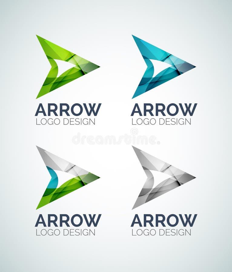 Diseño del logotipo de la flecha hecho de pedazos del color ilustración del vector