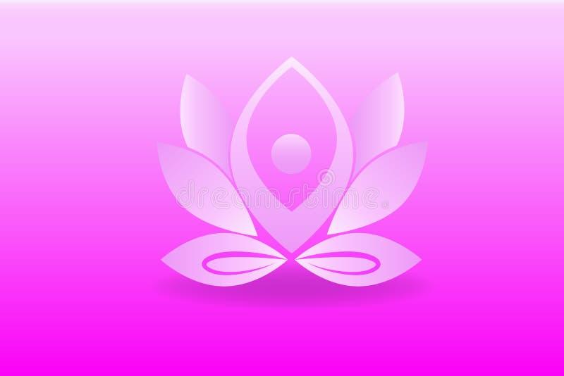 Diseño del logotipo de la flor de la yoga ilustración del vector