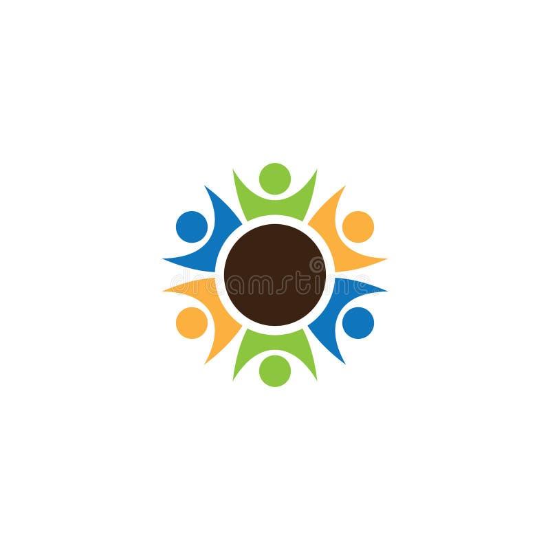 Diseño del logotipo de la gente del trabajo en equipo del círculo stock de ilustración