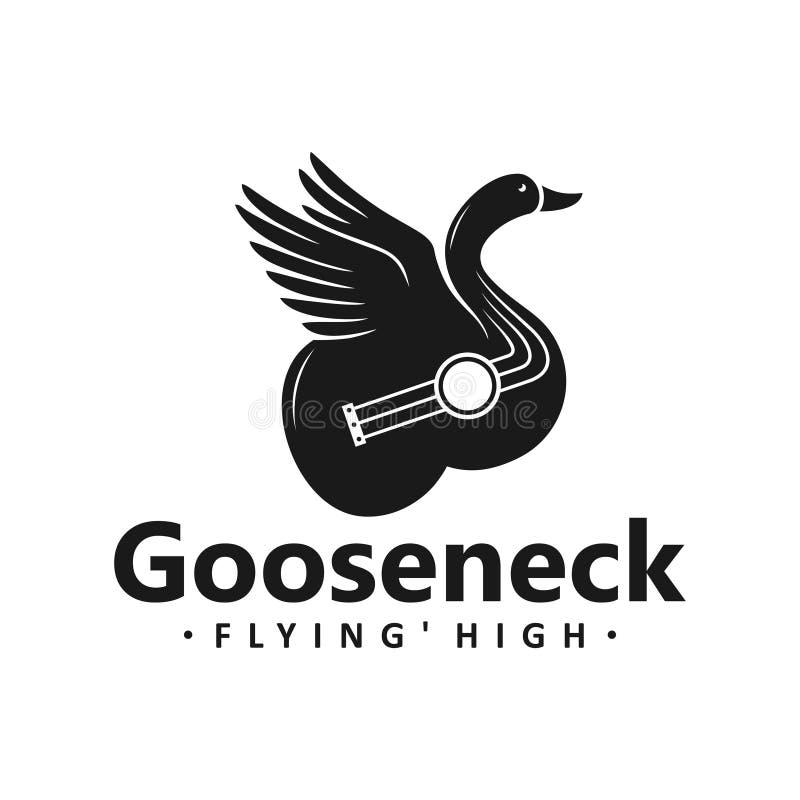 Diseño del logotipo de la guitarra del cisne libre illustration