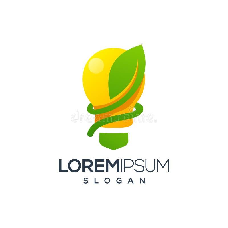 Diseño del logotipo de la hoja del bulbo, vector, ejemplo stock de ilustración