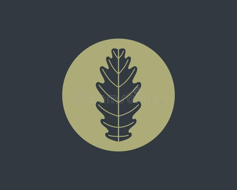 Diseño del logotipo de la hoja del roble stock de ilustración