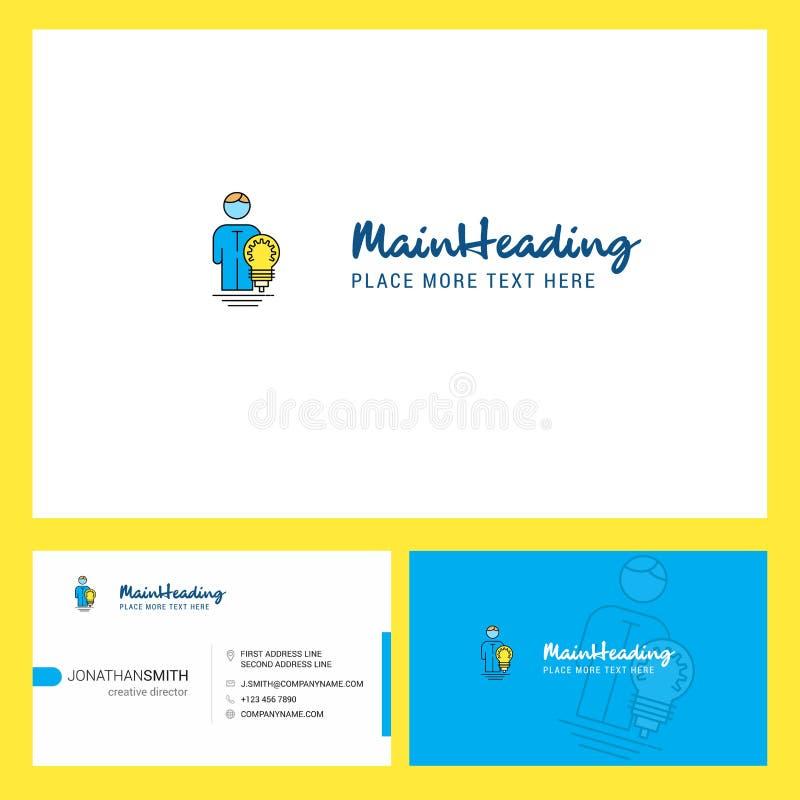 Diseño del logotipo de la idea con el Tagline y frente y plantilla trasera de la tarjeta de Busienss Diseño creativo del vector stock de ilustración