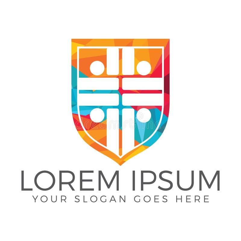 Diseño del logotipo de la iglesia de la gente ilustración del vector