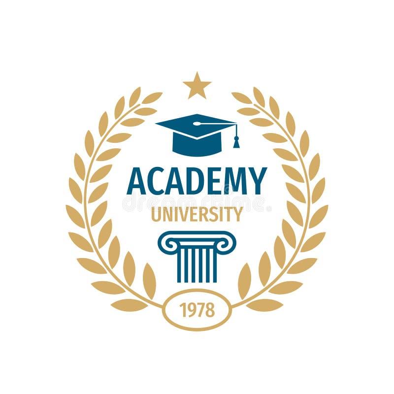 Diseño del logotipo de la insignia de escuela de la Universidad stock de ilustración