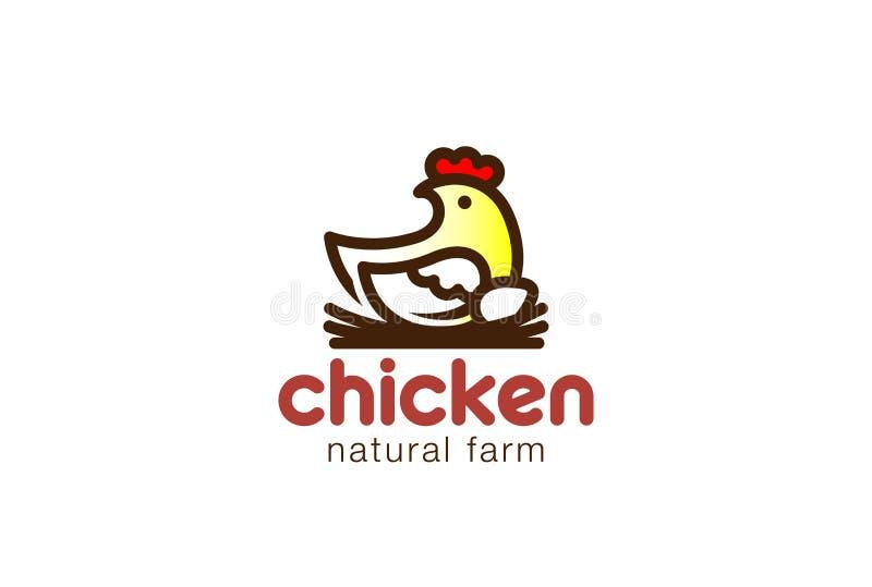 Diseño del logotipo de la jerarquía del pollo que se sienta Icono natural del logotipo de la granja de Eco ilustración del vector
