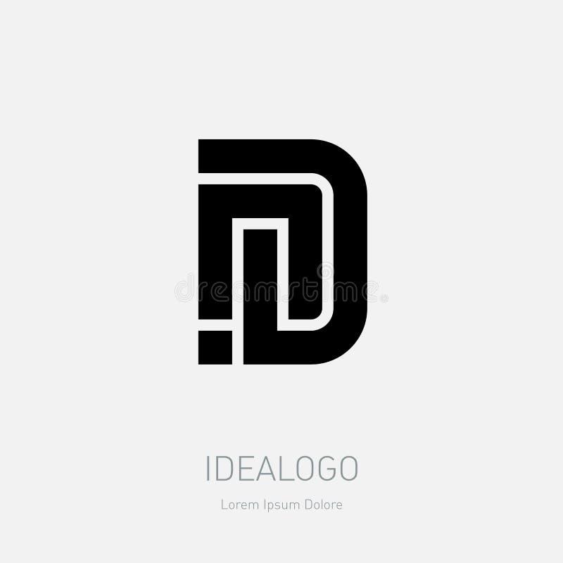 Diseño del logotipo de la letra N y de D Símbolo monocromático mínimo del monograma Logotipo superior del negocio ND - Muestra un stock de ilustración