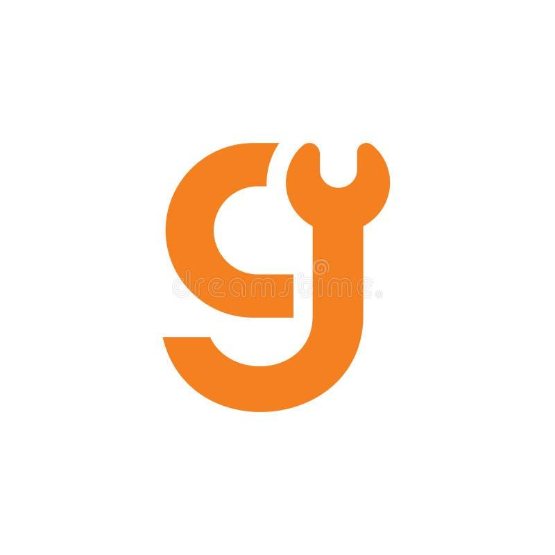 Diseño del logotipo de la llave de g de la letra inicial, diseño del ejemplo del vector ilustración del vector