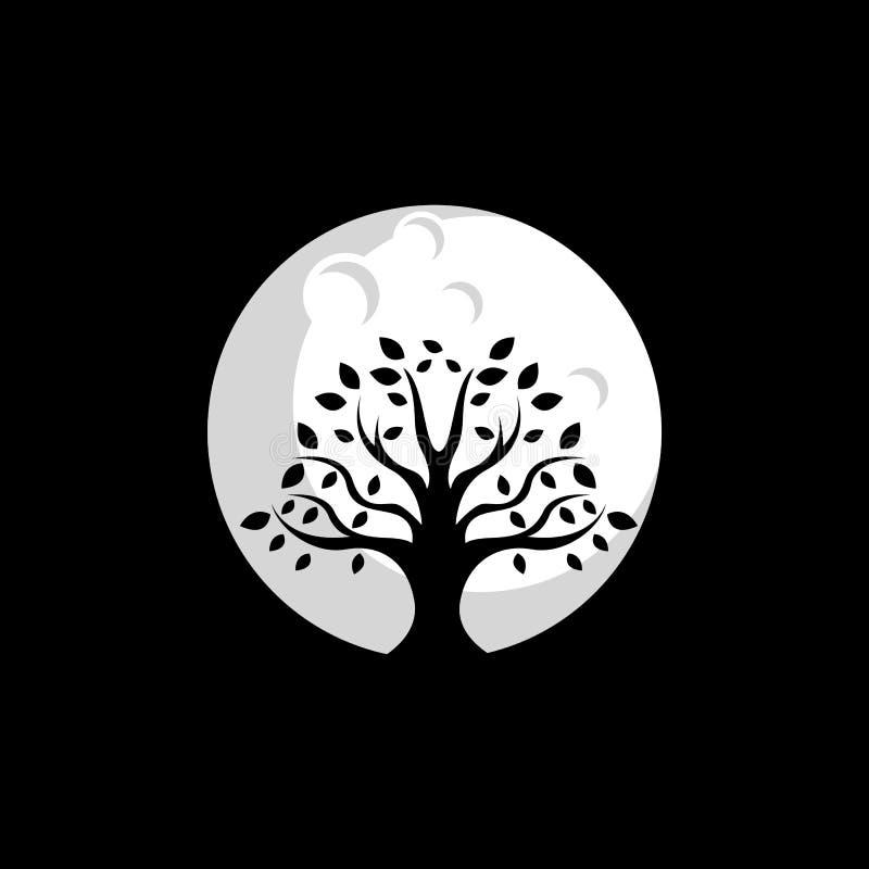 Diseño del logotipo de la luna del árbol, vector, ejemplo listo para utilizar stock de ilustración