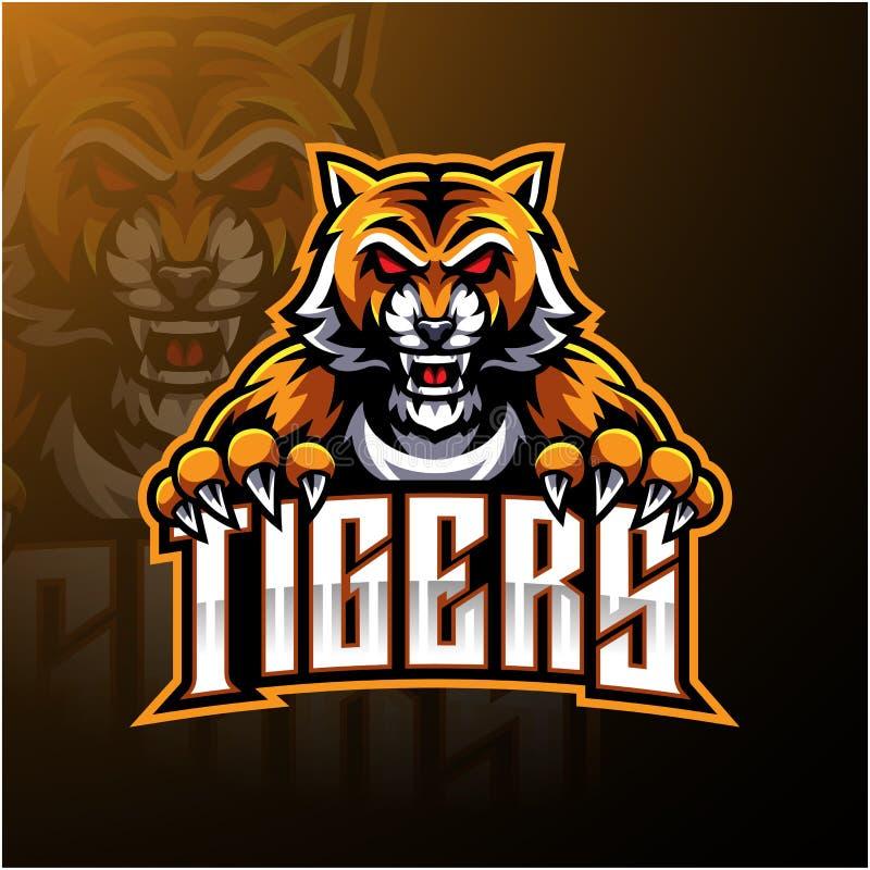 Diseño del logotipo de la mascota de la cara del tigre ilustración del vector