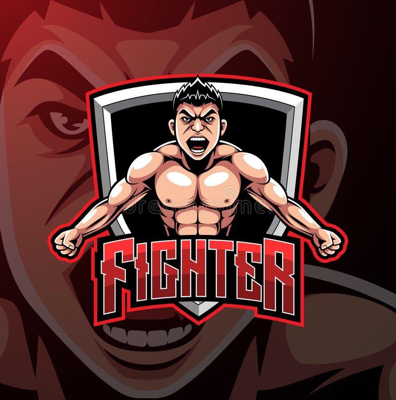 Diseño del logotipo de la mascota del deporte del combatiente ilustración del vector