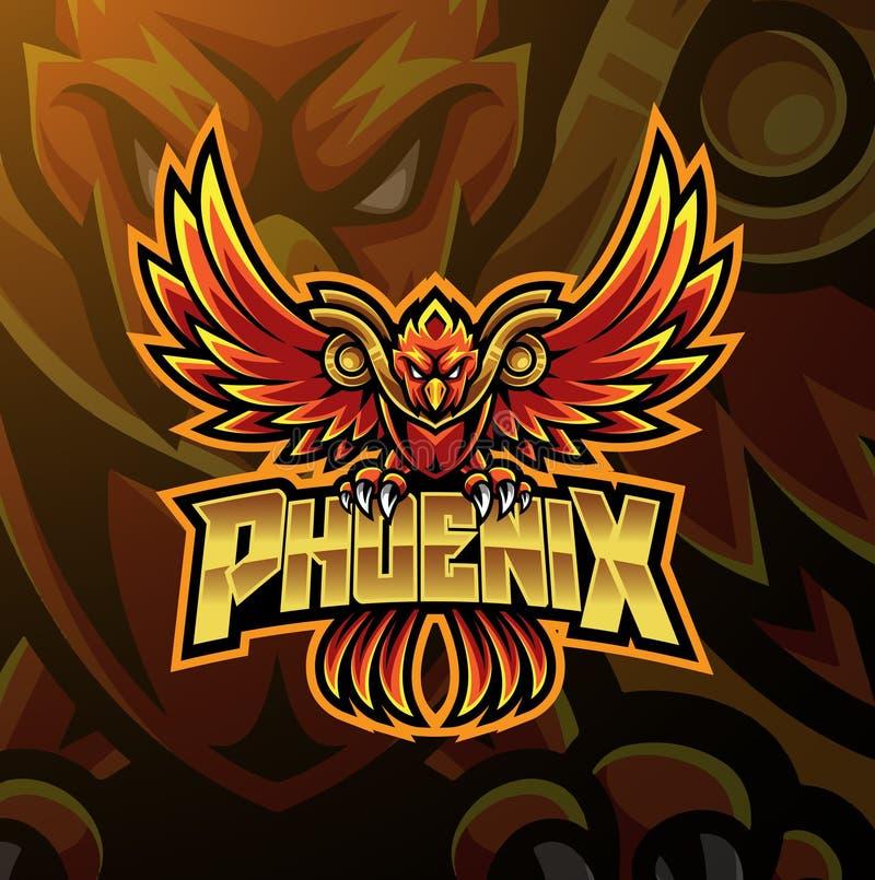Diseño del logotipo de la mascota del deporte de Phoenix stock de ilustración