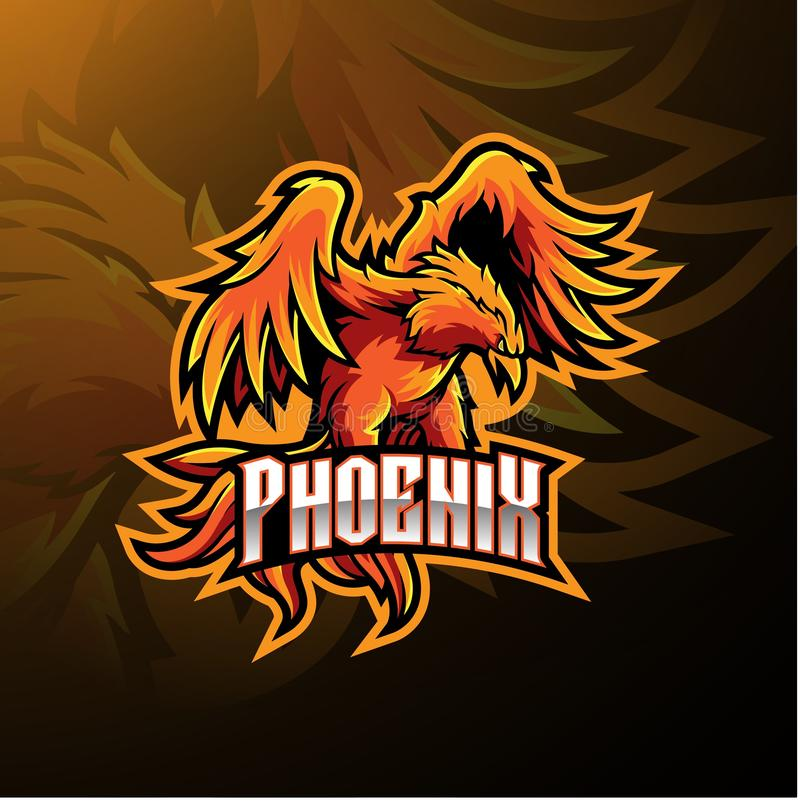 Diseño del logotipo de la mascota del deporte de Phoenix ilustración del vector