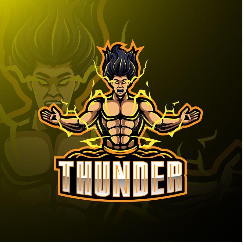 Diseño del logotipo de la mascota del deporte del trueno stock de ilustración