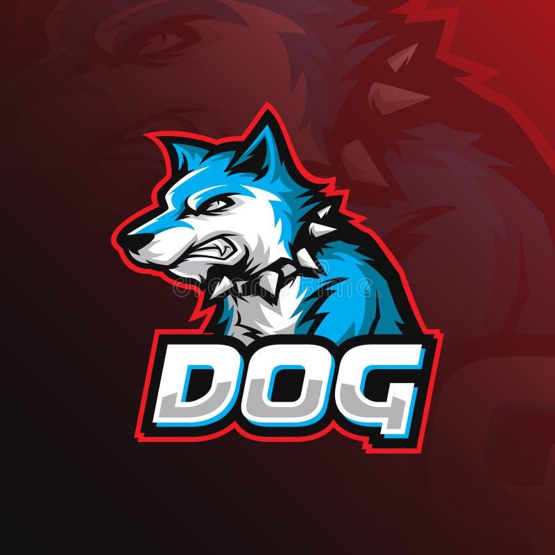 Diseño del logotipo de la mascota del vector del perro con el estilo moderno del concepto del ejemplo para la impresión de la ins stock de ilustración