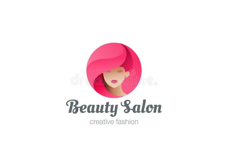 Diseño del logotipo de la mujer del salón del peluquero de la belleza ilustración del vector
