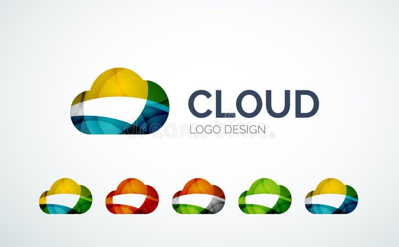Diseño del logotipo de la nube hecho de pedazos del color stock de ilustración
