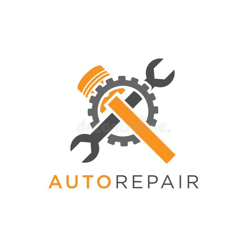 Diseño del logotipo de la reparación auto con el pistón y la llave dentro de un engranaje stock de ilustración