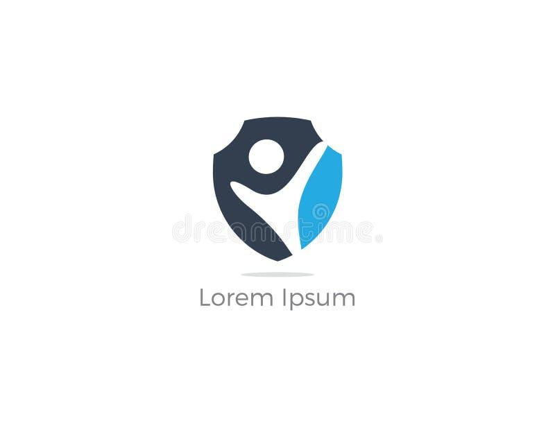 Diseño del logotipo de la seguridad de la gente Niños e icono del seguro de la familia Ejemplo del cuidado y de la protección Gen stock de ilustración