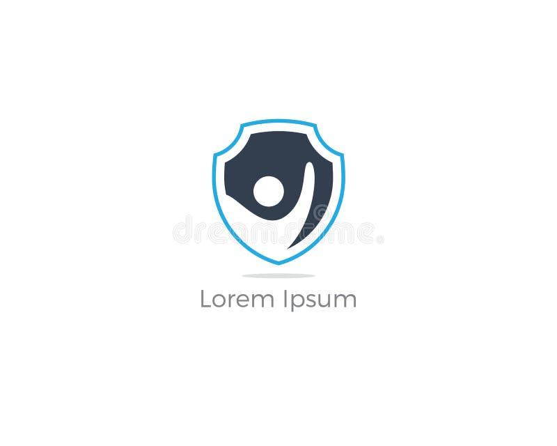 Diseño del logotipo de la seguridad de la gente Niños e icono del vector del seguro de la familia Ejemplo del cuidado y de la pro ilustración del vector