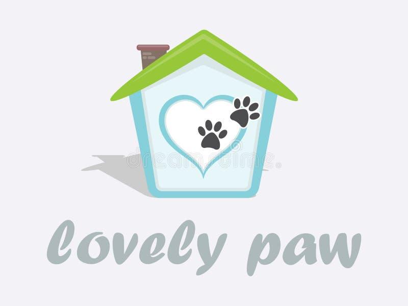 Diseño del logotipo de la tienda de animales para el centro comercial del perro y del gato stock de ilustración